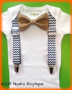 Baby Boy Clothes - Navy Chevron Suspenders Tan Bow Tie - Baby Boy Suspender Outfit - Coming Home Outfit Boy - Wedding Outfit Baby Boy by Noahs Boytique, $19.00