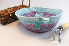 Boho Spring Time Coiled Basket Watering Can Charm by LauraLoxley
