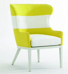 CARACOLE LIGHT    IHFC C-500 The striking stripe fabric on the Live Love Laugh wing chair by Ana Cordeiro for Caracole Light is a Sunbrella canvas. Available in a rainbow of brights, the chair is a color-soaked accent option.