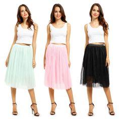 Womens-5-Layer-Tulle-Tutu-Skirt -Ballet-Wedding-Prom-Swing-Rockabilly-Pettiskirt e609093e7