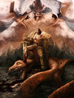 Easily one of my favourite 'classical' depictions of Him, supposedly as He stands triumphant over the Void Dragon of Mars.  (Emperor of Mankind by ESOLuna.deviantart.com on @deviantART) #TheEmperorofMankind #Warhammer 40k