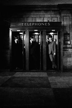 "In telephone booths; the opening scene for the film ""A Hard Day's Night"" - The Beatles"