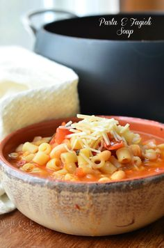 Pasta E Fagioli Soup. This comforting Pasta e Fagioli Soup is vegetarian and made with cannellini beans, ditalini pasta, veggies and lots of love. | from willcookforsmiles.com