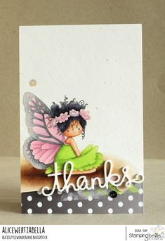 www.stampingbella.com: rubber stamp used: TINY TOWNIE BUTTERFLY GIRL BESS card by ALICE WERTZ
