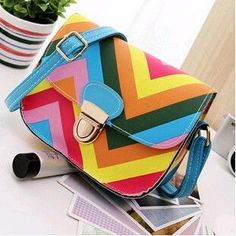 Crossbody Bags for Women Rainbow Bags PU Colorful Leather Candy Color Ladies Messenger Bags Fashion Mini Sling Shoulder Bag