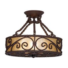 "Natural Mica Collection 15"" Wide Iron Ceiling Light Fixture"