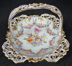 Charming Antique Hirsch Dresden Reticulated Basket produced in Germany by the Franziska Hirsch Dresden Studio in the late 1890s