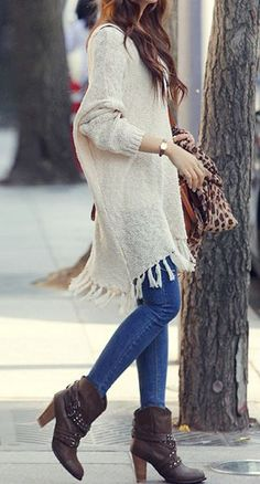 Fringe Knit Sweater in Apricot at Lookbook Store - Trendslove