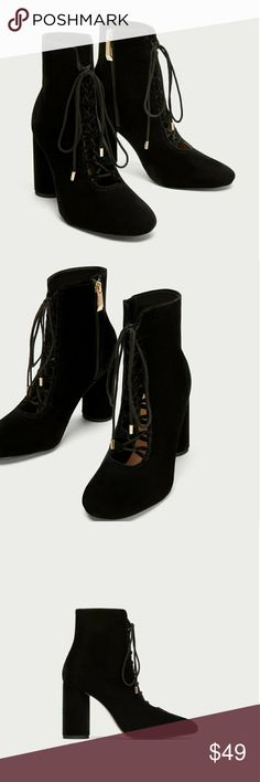 "Zara Lace-Up Black Velvet Ankle Boots Zara High heel ankle boots in black velvet. Sz 6 (EU 36)  Sz 7.5 (EU 38)  Featuring lace-up detail on the instep, 3.7"" lined block heels, gold metal hardware and side zip fastening.   Brand new with tags. Zara Shoes Ankle Boots & Booties"