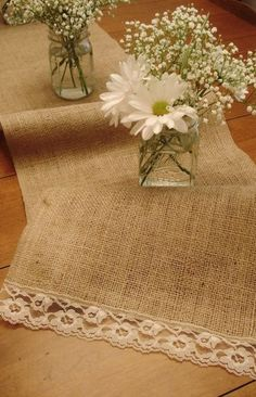 sunflowers with burlap and lace | love the lace at the end of the burlap, then add sunflowers to the ...