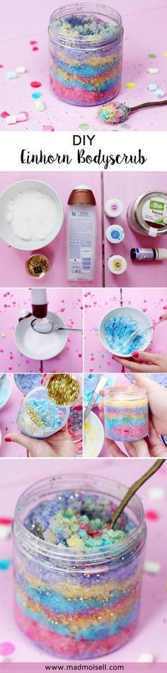 DIY Body Scrub yourself - a creative guide for unicorn fans! Make DIY Body Scrub yourself - a creative guide for unicorn fans! Make DIY Body Scrub yourself - a creative guide for unicorn fans! Homemade Gifts, Diy Gifts, Diy Beauté, Diy Y Manualidades, Diy Body Scrub, Body Scrubs, Unicorn Party, Small Gifts, Body Painting