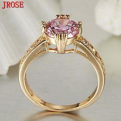 JROSE Classic Wedding Round Pink & White Topaz Jewelry Fashion 18K Yellow Gold Plated Ring Size 6 7 8 9 10 11 Bridal New Gift