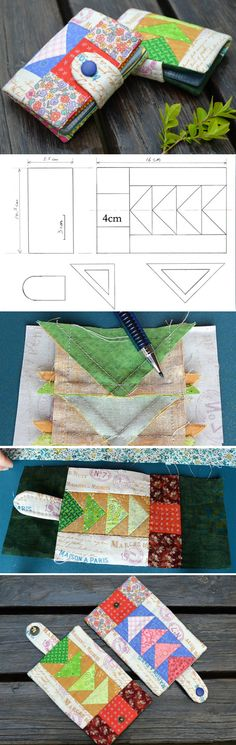 Business Card Holder  Patchwork. Tutorial Instructions for sewing in a photo.  http://www.handmadiya.com/2016/04/diy-business-card-holder-tutorial.html