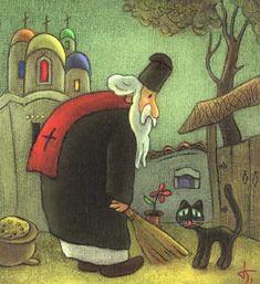 Painting of black cat. Dimitar Bogdanov