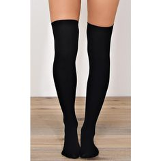 Seamless Fleece Lined Knee High Socks ($6.99) ❤ liked on Polyvore featuring intimates, hosiery, socks, black, above knee socks, knee-high socks, long black socks, seamless hosiery and knee hi socks