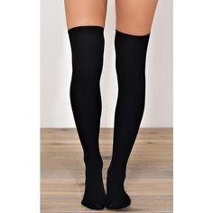 Seamless Fleece Lined Knee High Socks ($6.99) ❤ liked on Polyvore featuring intimates, hosiery, socks, black, seamless hosiery, over knee socks, black knee socks, long socks and knee-high socks