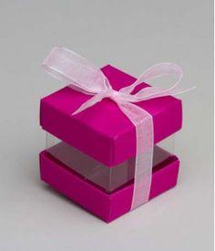 Cube à dragées avec transparent -Fuchsia