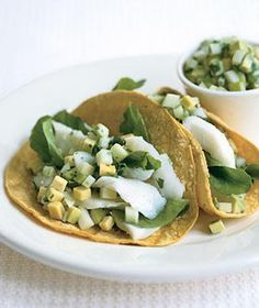 Fish Tacos With Green Apple Guacamole from realsimple.com #myplate #protein #vegetables