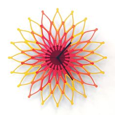 Flames - large stylish wooden wall clock, sunburst clock, sunflower clock