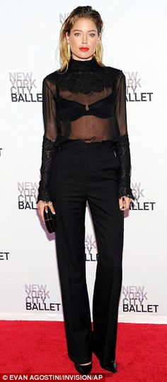 Doutzen Kroes.. All-black ensemble which featured pants and a sheer top.. New York City Ballet 2013 Fall Gala..