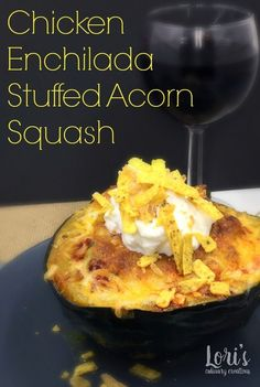 Food Network Magazine's Chicken Enchilada Acorn Squash. This is a great recipe for these squash. Just garnish with sour cream and tortilla strips and dinner is served.