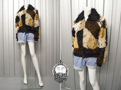 Vintage 90s Patchwork Shaggy Jacket Faux Fur Fuzzy by ZeusVintage