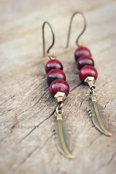 Red Buffalo Bone Earrings Tribal Bohemian by WildPeopleFreeSpirit