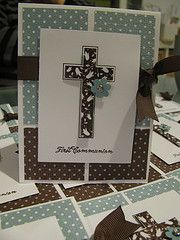 First communion invitations stampin up First Communion Banner, First Communion Invitations, Confirmation Cards, Baptism Cards, Ideas Bautizo, Christian Cards, Communion Gifts, Cardmaking And Papercraft, Sympathy Cards