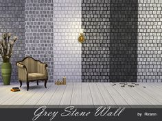 Grey stone walls in 6 color variations. The wall pattern is seamless and looks nice on all 3 wall sizes.  Found in TSR Category 'Sims 4 Walls'