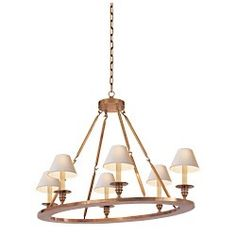 Visual Comfort Lighting  CHC1444AB Chart House E.F. Chapman Oval Flat Line Chandelier in Antique-Burnished Brass