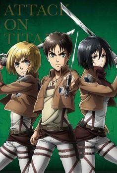 Eren Mikasa and Armin