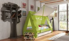 This awesome Children's Tent Cabin Bed is the perfect centerpiece in any kids bedroom and will c Enclosed Bed, Childrens Tent, Childrens Bedroom, Cool Beds For Kids, Creative Beds, Playhouse Bed, Cabin Tent, Kids Tents, Kids Canopy