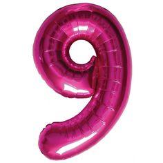 Cijfer 9 ballon roze. Een rozekleurige folie ballon in de vorm van de cijfer 9 om zelf op te blazen. De ballon is opgeblazen ongeveer 86 cm groot. U kunt de ballon heel gemakkelijk met een ballonpomp opblazen. U kunt de ballon ook zelf vullen met helium welke bij ons in tankjes verkrijgbaar zijn. De ballon wordt dus zonder helium geleverd.