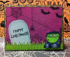 Hi Everyone, I've been having fun colouring little Frankie from the Halloweenies stamp set by Paper Smooches. Gosh, I love their stamps! They are just too cute. Halloween isn't big here in Australi...