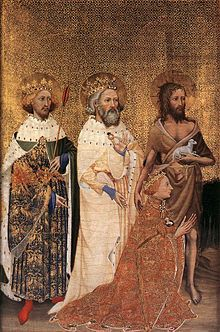 Wilton Diptych: Richard II of England with his patron saints. Second Half of the Century Richard II of England with his patron saints. The Wilton Diptych is a portable altarpiece taking the form of a diptych. It was painted for King Richard II. Richard Ii, Catholic Art, Religious Art, Roman Catholic, British History, Art History, St Edward The Confessor, Justin Martyr, National Gallery
