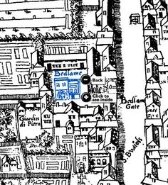 6th Century map (the 'London Copperplate') showing the location of Bedlam Hospital. The long, wide road to the right is the present day Bishopsgate; still a major route through the City (image from the Museum of London)
