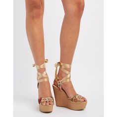 Delicious Embroidered Ribbon-Tie Wedge Sandals ($27) ❤ liked on Polyvore featuring shoes, sandals, taupe, platform wedge shoes, taupe sandals, wedge sandals, peep toe sandals and cushioned sandals