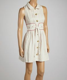 Look what I found on #zulily! White & Red Sleeveless Button-Up Dress by Freeway Apparel #zulilyfinds