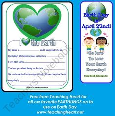 Earth Day Love and Bookmark from Teaching Heart on TeachersNotebook.com (2 pages)