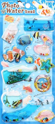 kawaii colorful animal fish aquarium water capsule stickers 2