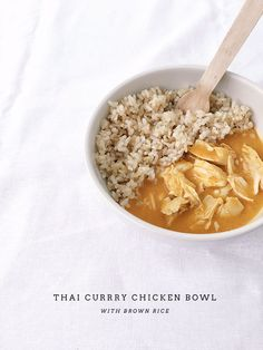 thai curry chicken bowl with brown rice