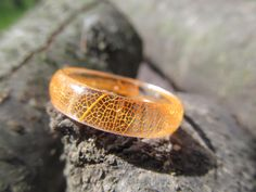 Nature engagement resin rings Leaf ring skeleton resin Eco ring orange ring Leaves resin nature ring Resin jewelry skeleton leaf rings Resin by FlowerJewerly on Etsy