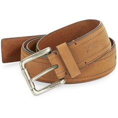 Nautica Leather Square Buckle Belt ($29) ❤ liked on Polyvore featuring men's fashion, men's accessories, men's belts and brown