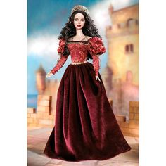 Princess of the Portuguese Empire Barbie doll wears a glorious gown of jacquard and burgundy panne velvet, inspired by Renaissance fashion. A delicate cap of golden metallic lace tops her glorious hair.