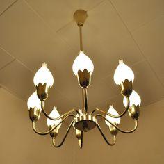 Located using retrostart.com > Tulip Chandelier Hanging Lamp by Ansgar Fog and E. Mørup for Fog and Mørup