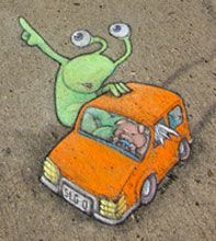 Let's get outta here those happy-challenged huminids are after us! David Zinn artist