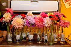 Corona Bottles with Flowers
