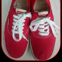 Levis Cherry Red Lace Up Sneakers~ 7.5 Really cool retro look sneakers in good condition, very clean. Levi's Shoes Sneakers