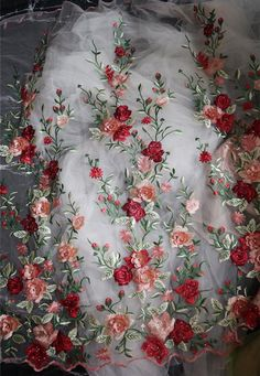 red pink rose flowers embroidered lace fabric, plant style mesh embroidery lace fabric by the yard – 2019 - Lace Diy Embroidered Lace Fabric, Bridal Lace Fabric, Silk Ribbon Embroidery, Floral Embroidery, Embroidery Designs, 3d Rose, Rosa Rose, Flower Fashion, Flower Applique