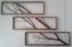 Birch Branch spread over three frames made of driftwood (by Emile Hamann).